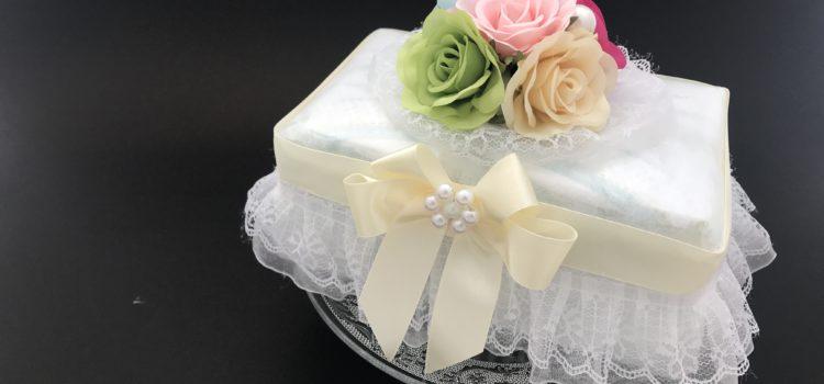 フォトギャラリー)宝石箱風スクエアタイプ、おむつケーキ