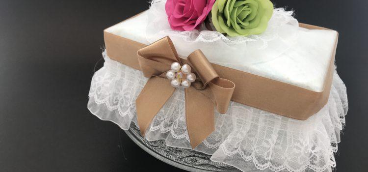 フォトギャラリー)宝石箱風おむつケーキ、ブロンズリボン